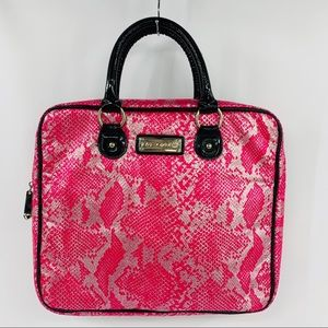 Betsey Johnson Pink Silver & Black Patent Bag